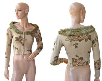 Vintage women top blouse flowers floral roses wool and angora Made in Italy