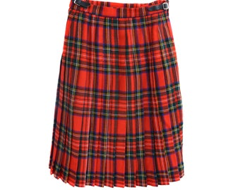 Vintage Scottish kilt pleated pure new wool skirt red Irish plaid checked