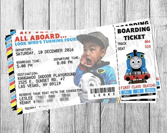 Thomas the Train Invitation - Printed on 110lb Premium Card Stock OR Glossy Photo Paper