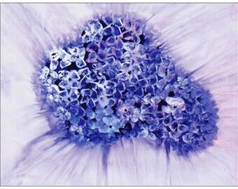 Purple Hydrangeas Card, Flowers, Original Art, Acrylic Art, Blank Card,