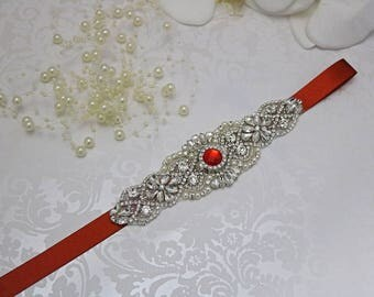 red belt, crystal bridal sash, rhinestone bridal sash, bridal belt, beaded bridal belt, wedding sashes, red bridesmaid sash