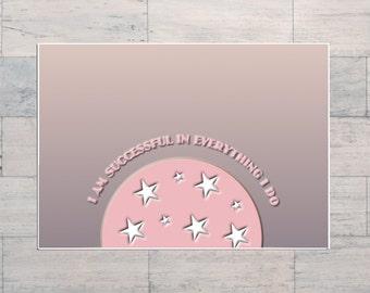 I AM Successful, Positive Affirmation, Pink, Printable, Instant Download, Digital Download, Multi Sizes, Digital Art, Inspirational Art,