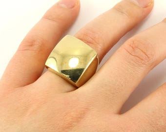 Vintage Women's Gold Tone Square Shape Mirror Ring 925 Sterling Silver RG 1676-E