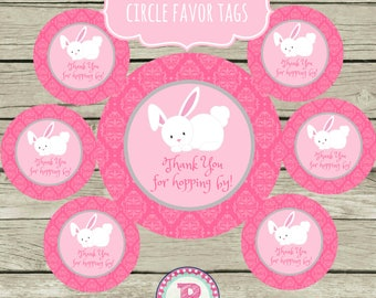 Bunny Birthday Party Circle Favor Tags Printable Instant Download 2 inch Thank You for hopping by Easter Stickers Pink Gray White Bunnies