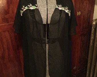 SALE! Sheer black nylon vintage sleep jacket with beautiful pink floral accents (A140)