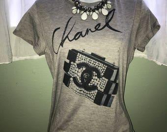 Gray Chanel fashion t-shirt