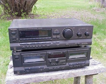 c1980s Technics 2 Piece Stacking Stereo Set Synthesizer Amplifier Receiver, Double Cessette Deck , Tested Works