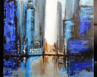 Blue City - acrylic painting. Free UK delivery.