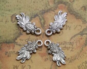 35pcs silver tone Tiny Goldfish charms pendants 2 sided 18x8mm ASD0507