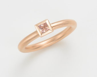 Cocktail ring Sapphire, 18kt pink gold, engagement, wedding, Combi ring, statement ring, stacking ring, several rings combined, gold ring