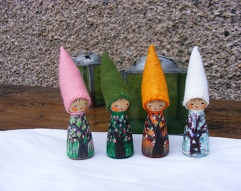 Wooden Peg Four Seasons Hand Painted Gnome Waldorf inspired Peg Dolls