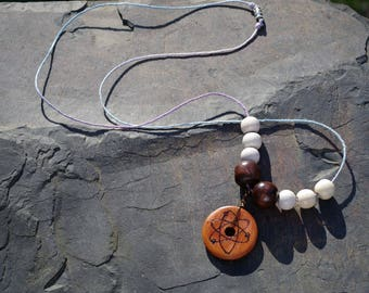 Cherry Wood Atom Necklace with beads, hand-burned