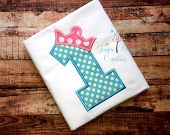 crown birthday shirt, girls applique shirt, girls 1st birthday shirt, girls crown birthday shirt, girls princess birthday shirt