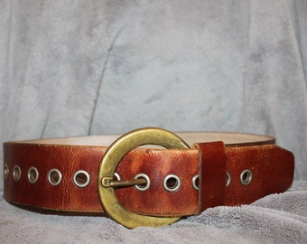 Vintage Aged Leather Belt - Handmade
