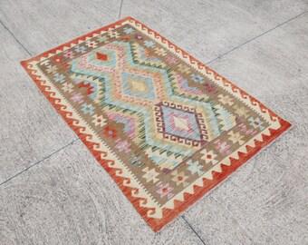 Pastel Colors Kilim, Area Kilim Rug, Turkish Rug, Persian Rug, Kilim Cicim. Natural Dye, Oushak Rug, Boho Rug  142 x 100 cm / 4.6 x 3.2 ft