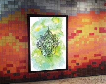 Green Henna Print - Watercolor Mandala - Wall Art Print Printable, INSTANT DOWNLOAD