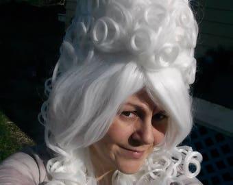 White Victorian Wig, Marie Antoinette Wig, Beehive wig, bee hive, Powder, light, vintage  Renaissance, Big Curly, Drag Queen, vintage, queen