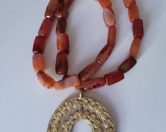 African Carnelian Neckalce, African Brass Pendant, Carnelian Beads, Ethnic Beads