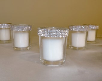 Rhinestone Rim Votive Candle Holder Wedding Party Bridal Shower Table Decor 5 Candles Per Order