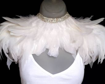White feather epaulettes and white feather and crystal collar set. Bridal feather shoulder pieces. Wedding feather collar.