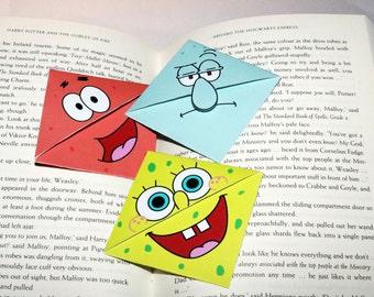SpongeBob SquarePant's bookmarks. Triangular bookmarks. Patrick Star and Squidward Tentacles