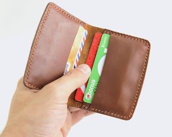 Leather Bifold Card Holder, Slim Wallet, Leather Card holder case, Leather Credit Card Holder, Front Pocket Wallet, Business Card Holder