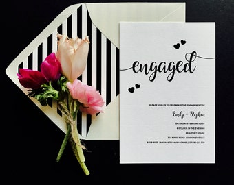 Romantic Hearts Engagement Invitation - Engagement Party Invite - Black and White Calligraphy