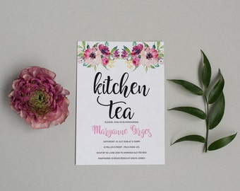 Floral Bridal Shower Invitation - Floral Kitchen Tea Invitation - Floral Hen Party Invitation