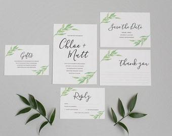 Greenery Wedding Invitation and RSVP - Botanical Rustic Wedding Invite