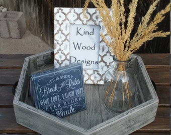 Hexagon Wood Tray (medium ) Handmade with Reclaimed Wood, Rustic Tray, Home Decor, Kitchen Tray, Ottoman Tray, Serving Tray,