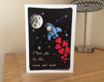 I love you to the moon and back - greetings card, anniversary, birthday, Valentines day, mothers day, fathers day