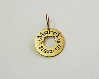 Pet ID Tag, Dog Tag, Cat Tag, Bridle Tag, Hand Stamped, Natural Brass