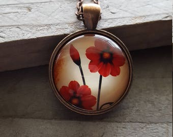 Red Poppy Pendant Necklace - Vintage Look - Flowers Poppies Spring Summer Trending - gift for her
