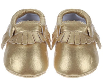 gold baby moccasins leather, boho baby shower gift, baby boy moccasins, baby booties, baby girl moccasins, baby shoes, leather moccasins