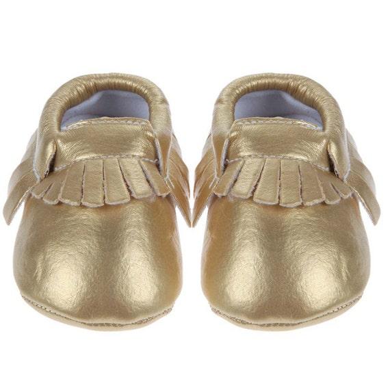 Baby Boy Gift Gold : Gold baby moccasins leather boho shower gift boy