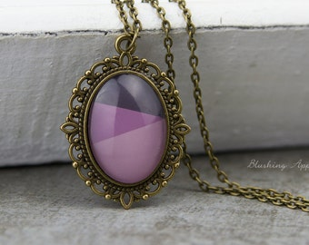 Dip dye necklace - violet / necklace in the color bronze and a hand-painted glass cabochon in purple tones