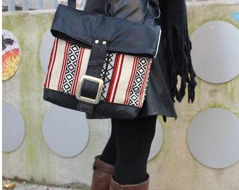 Messenger bag, leather, retro design, Upcycling