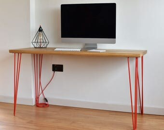 Solid Oak Accent Desk - Steel Hairpin Legs - Computer Desk