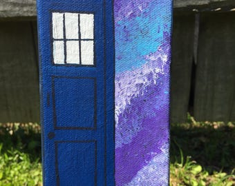 T.A.R.D.I.S. painting, tardis artwork, doctor who tardis, time machine, doctor who tardis art, doctor who painting, blue call box painting