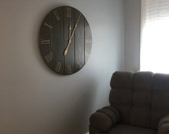 Distressed Wooden Wall Clock