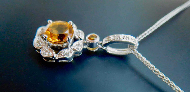 Diamond Necklace Wedding Gift : ... pendant, citrine and diamond necklace, wedding gift, filagree citrus