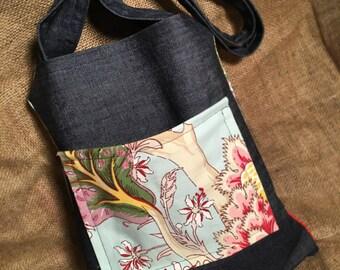 Denim And floral tote bag