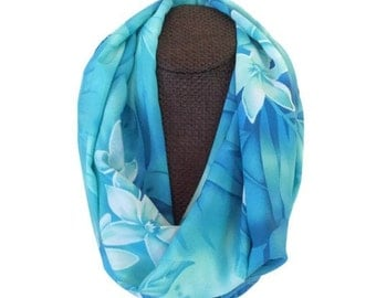 Aloha Floral Infinity Scarf. Blue. Lightweight Spring - Summer Loop Scarf. Tropical Gardenia. Island Accessories for Women. Made in HI.