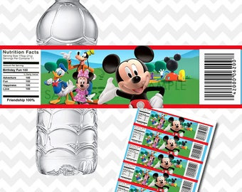 Mickey Mouse Clubhouse Water Bottle Labels, Mickey Mouse Clubhouse Bottle Labels, Mickey Mouse Clubhouse Birthday, Party Printables, Labels