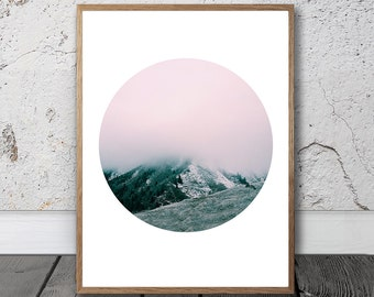 Geometric Nature Print - Geometric Nature Wall Art, Digital Print, Mountain Print, Forest Wall Art, Modern Decor, Abstract Nature, Boho Art
