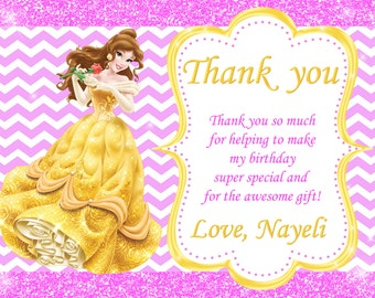 Princess Belle Thank You Card Birthday Party