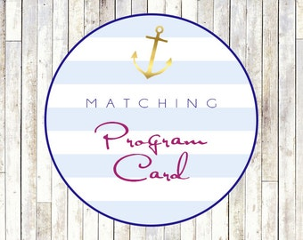 Matching Program Card - Printable DIY