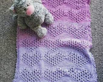 Baby blanket,  knitted, crochet, cotton, hearts