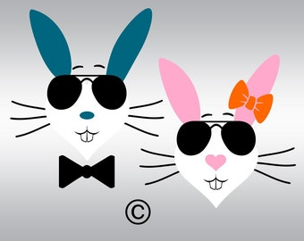 Easter bunny glasses face SVG Clipart Cut Files Silhouette Cameo Svg for Cricut and Vinyl File cutting Digital cuts file DXF Png Pdf Eps