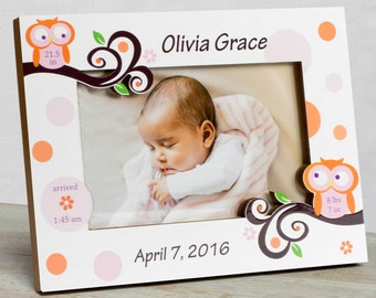 Personalized Baby Picture Frame, Baby Girl Picture Frame, New Baby Girl Frame, Baby Girl Birth Frame, Picture Frame Baby, Baby Owl Frame